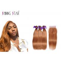 China Straight Gold 100% Peruvian Hair Bundles Colored 30 Machine Double Weft on sale