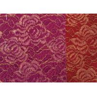 Buy cheap Red Golden Embroidery Sequin Lingerie Lace Fabric For Wedding Dress , Decoration Lace Fabric from wholesalers