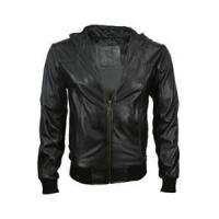 Buy cheap 46 S mens hooded pu leather bomber red coffee black windproof jacket padded cotton lining from wholesalers