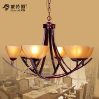 Buy cheap Black Ground Bordeaux Unique Rustic Chandeliers , Iron Glass Pendant Chandelier from wholesalers