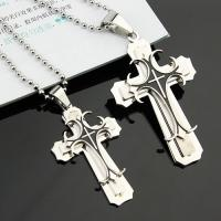 Buy cheap Fashion couples jewelry stainless steel pendant cross couple necklaces colth ornaments from wholesalers