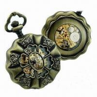 Buy cheap Flower-shaped Pocket Watch, Easy to Wear and Read Time, Available in Various Designs from wholesalers