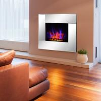Buy cheap Wall Mount Electric Fireplace Heater  Mirror panel LED flame EF452K remote control pebbles room heater from wholesalers