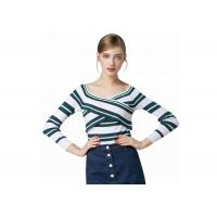 Buy cheap Sexy Lady Cozy Knit Sweater Long Sleeve V Collar Pullover With Striped Pattern from wholesalers