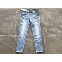 Buy cheap Milk / Light Blue Ladies Stretch Denim Jeans , Belted Skinny Jeans TW72964 from wholesalers