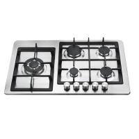 Stainless Steel Built In 5 Burner Gas Hob , NG / LPG 5 Ring Gas Burner