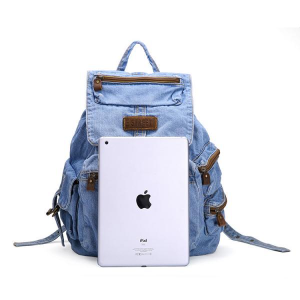 Hot Sale Fashion Blue Jeans Bag for Girl Preppy Style Blue Denim Backpack - 107059662