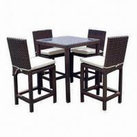 Buy cheap All-weather Wicker 5-Piece Outdoor Bar Set with Table and Chairs from wholesalers