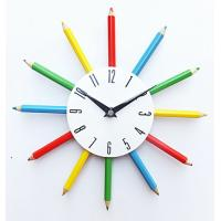 Buy cheap Colorful Pencil Shape Diameter 11 Inch Metal Wall Hanging Quartz Clock for Home Use from wholesalers
