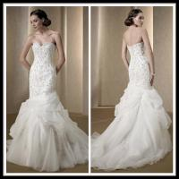 Buy cheap Vintage 2014 Organza Lace Mermaid Wedding Gowns , Trumpet Bridal Dresses from wholesalers