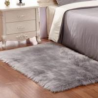 Buy cheap Grey White Plush Faux Fur Rug Shag Area Rug Nursery Room Carpet Christ from wholesalers