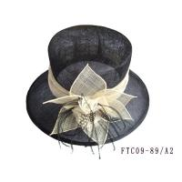 sinamay hat lady black white FTC09-89