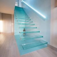 Buy cheap Invisible wall side stringer stairs modern stair wood treads from wholesalers