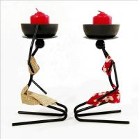 Buy cheap Banquet Party Snack Dish Tableware Stand Iron Candlestick African Woman Decoration Candle Holders from wholesalers