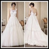 Buy cheap Vintage Scoop A Line Wedding Dresses Lace Tulle Beaded Bridal Gowns from wholesalers