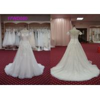 Buy cheap Luxury Strapless A Line Wedding Dress , Ladies White A Line Chiffon Wedding Dress from wholesalers