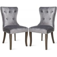 Buy cheap Tufted Dining Chairs With Arms , Studded Knocker Ring Accent Arm Chair Grey Fabric from wholesalers