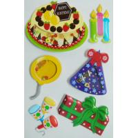 Buy cheap Colored Birthday Cake 3d Birthday Stickers , Personalised Kids Stickers Removable from wholesalers