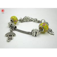 Buy cheap Customized Yellow Glass Bead Charm Bracelets Pandora Ladies Funky Bracelet from wholesalers
