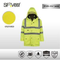 Buy cheap Three in one detachable windbreaker Reflective Safety Jacket with PU or PVC coating waterproof product