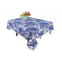 Buy cheap Blue And White Custom Printed Tablecloths Hemstitch Design For Office Writing Desks from wholesalers