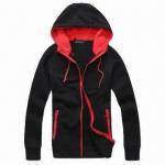 Buy cheap Men's Fleece Cotton Hoodie Jacket, Brushed Inside, Contrast Front Full Zipper, Long Sleeves from wholesalers