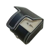 Buy cheap Black Cardboard Paper Ring Box wrapped in PU leather with stitch frame from wholesalers