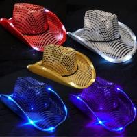 Buy cheap Neon Flash LED Light Up Hats Glow In Dark Flashing Lighted Cowboy Hats 5 Colors from wholesalers