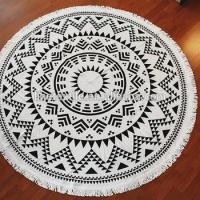 Buy cheap cotton reactive printed round beach towel with tassels 150cm 300-600gsm customer design from wholesalers
