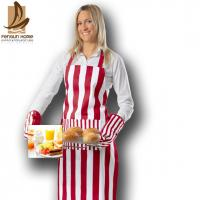 Buy cheap Stripe Printed Canvas Personalised Kitchen Aprons Bib Aprons With Pockets from wholesalers