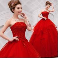 Buy cheap Custom White/Red Strapless Beaded Lace-up Lace Long Wedding Dresses Ball Gown Vestido De Noiva 110506 from wholesalers
