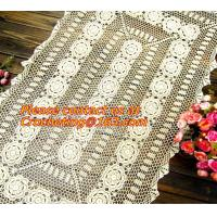 China Rectangular coffee table linen table cloth table, Corcheted Lace Table linen, Tablecloth on sale