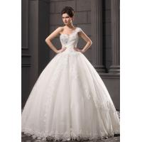 Buy cheap Girls Thin Diamond Lace Ball Gown Wedding dress with one shoulder for fall from wholesalers