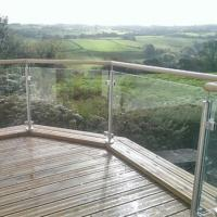 Buy cheap Glass porch railing for balcony, stainless steel glass stair handrail from wholesalers