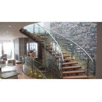 Buy cheap Interior modern glass wood tread curved stair / staircase design from wholesalers