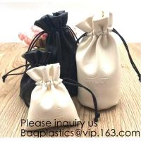 Buy cheap Custom Logo Acceptable Multi Sizes Black Drawstring PU Leather Promotional Gifts Pouches Bags Jewelry, Gift,Hair, Shoes, from wholesalers