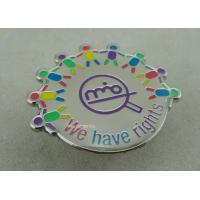 Buy cheap Die Struck Iron Epoxy Award Soft Enamel Pin , Silver Club Badges With 3D Logo from wholesalers