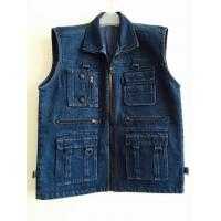 Buy cheap mens vest in 100% cotton, denim, jean, black, fishing vest, S-3XL from wholesalers