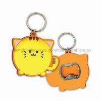 Buy cheap Soft PVC Bottle Opener with Keychain, Suitable for Promotions, Customized Designs are Welcome from wholesalers