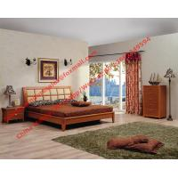 Buy cheap Apartment Bedroom Furniture suite by leather pad and cherry solid wood bed with drawer chest product