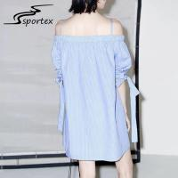Buy cheap White Blue Stripe Off Shoulder Women Dress , Casual Summer Dresses Minimalistic from wholesalers
