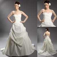 Buy cheap Vintage Satin Beaded Applique Wedding Dresses Ruffled Ball Gown in White from wholesalers