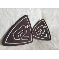 Buy cheap Customized Brown Suede Embossed Leather Patches , Shiny Siliver High Density Tpu Logo from wholesalers