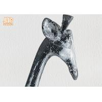 Buy cheap 183cm H Silver Mosaic Glass Polyresin Animal Figurines Giraffe Sculpture Floor Statue from wholesalers