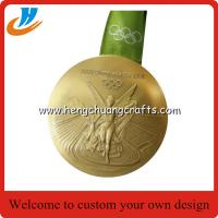 Buy cheap Polished gold Olympic games medals with ribbon, Olympics trophy and award medals from wholesalers