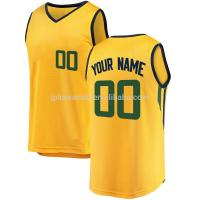 Buy cheap China factory custom design authentic yellow color college youth mesh 100% polyester basketball jerseys from wholesalers