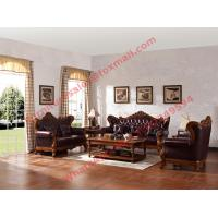 Buy cheap European Classic Solid Wooden Carving Frame with Italy Leather Upholstery Sofa Set from wholesalers