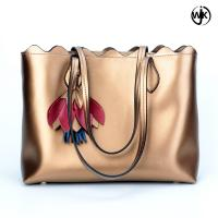 Buy cheap Factory new design tote ladies bag golden color woman beach handbag handmade tote leather bag from wholesalers