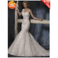 Buy cheap Free ShippingMermaid Sheer Strap Court Train Ruched Tulle Layer Beaded Wedding Dresses from wholesalers