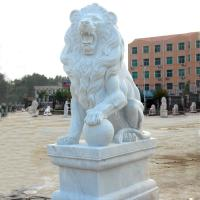 Buy cheap Western Style Life-size White Marble Stone Sitting Lions Pair Sculpture from wholesalers